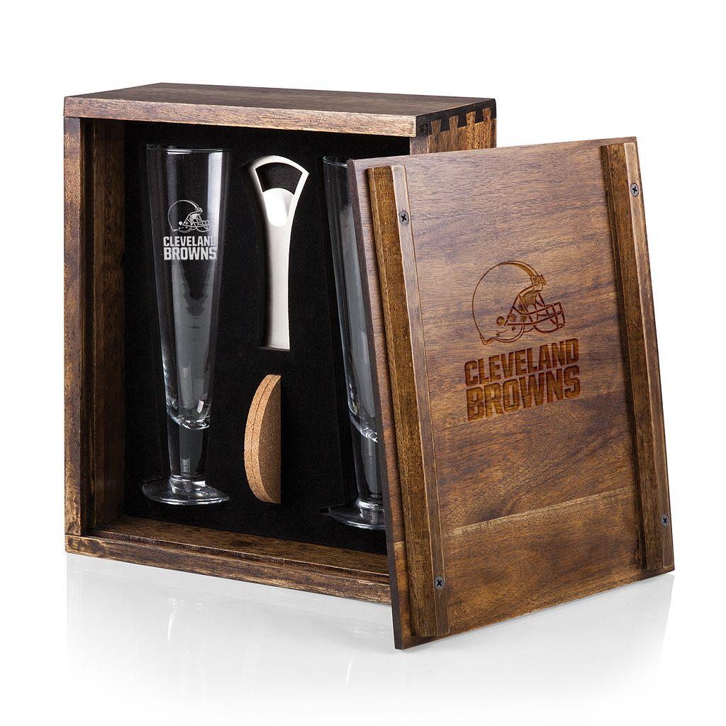 Picnic Time Cleveland Browns Pilsner Beer Glass Gift Set