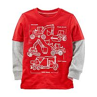 Boys 4-8 Carter's Construction Trucks Mock Layer Tee