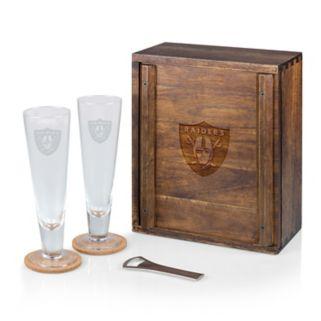 Picnic Time Oakland Raiders Pilsner Beer Glass Gift Set