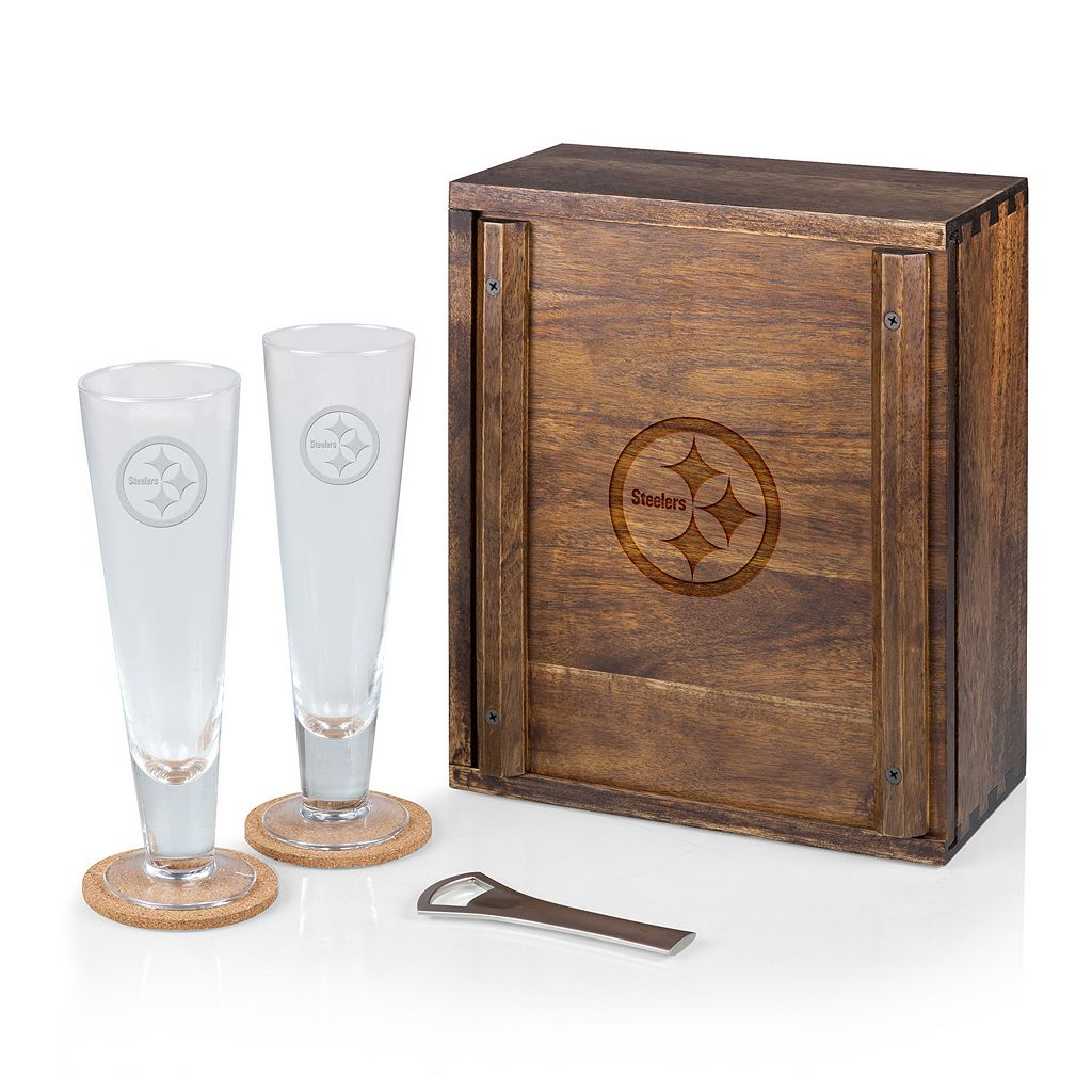 Picnic Time Pittsburgh Steelers Pilsner Beer Glass Gift Set