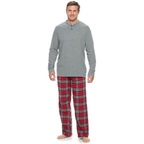 Big & Tall Croft & Barrow® Henley & Plaid Flannel Lounge Pants Set