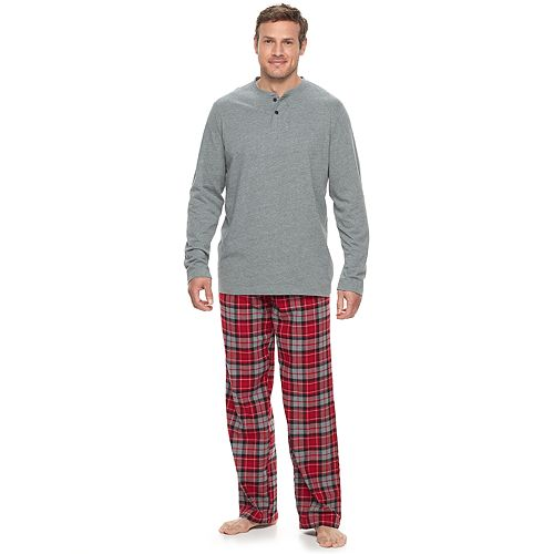 Big & Tall Croft & Barrow® Henley & Plaid Flannel Lounge Pants Set