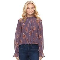 Juniors' Mason & Belle Floral Mock Neck Peasant Top