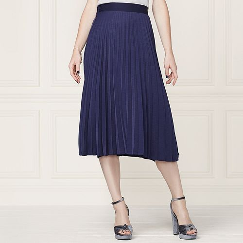 LC Lauren Conrad Runway Collection Pleated Midi Skirt - Women's