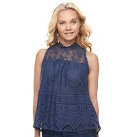 Juniors' Mason & Belle Mock Neck Lace Tank