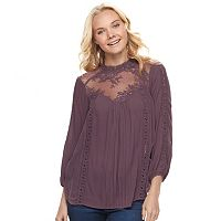 Juniors' Mason & Belle Lace Yoke Mock Neck Top