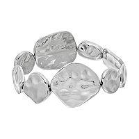 Hammered Oblong Disc Stretch Bracelet
