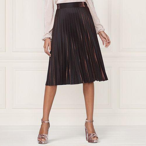 LC Lauren Conrad Runway Collection Pleated Metallic Skirt - Women's