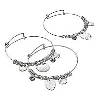 Hammered Charm Bangle Bracelet Set