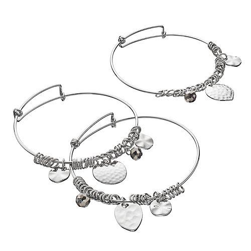 Hammered Charm Bangle Bracelet Set