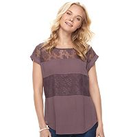 Juniors' Mason & Belle Mixed-Media Lace Inset Tee