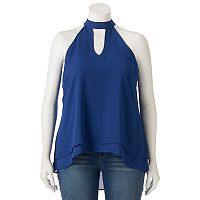 Juniors' Plus Size HeartSoul Woven Choker Neck Top
