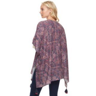Juniors' Mason & Belle Print Open Front Kimono