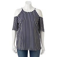Juniors' Plus Size HeartSoul Striped Cold Shoulder Top