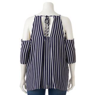 Juniors' Plus Size HeartSoul Striped Cold Shoulder Top