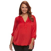 Plus Size Apt. 9® Pleated Satin Blouse