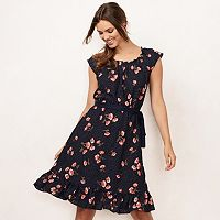 Women's LC Lauren Conrad Floral Pleat Neck Dress