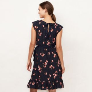 Women's LC Lauren Conrad Floral Pleat Neck Dress