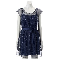 Women's LC Lauren Conrad Sparkle Dot Pleat Neck Dress