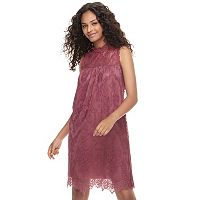 Juniors' Mason & Belle Lace Mock Neck Dress