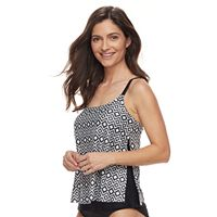 Women's Croft & Barrow® Tummy Slimmer Striped Eyelet Tankini Top