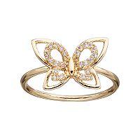 LC Lauren Conrad Cubic Zirconia Openwork Butterfly Ring