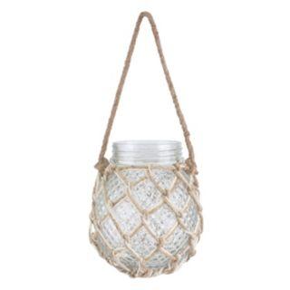 Stonebriar Collection Textured Hanging Glass Jar Decor