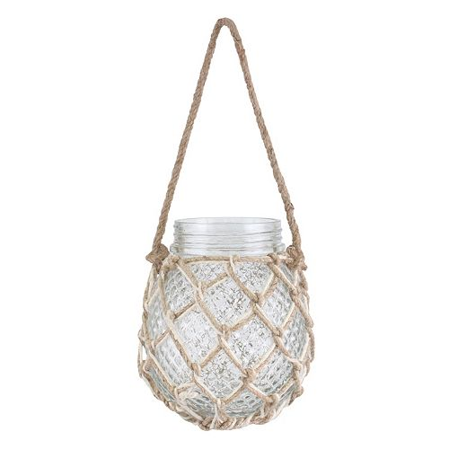 Stonebriar Collection Textured Hanging Glass Jar Decor