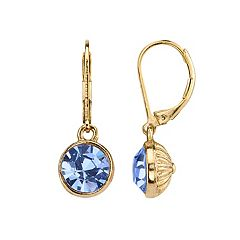 1928 Round Faceted Stone Drop Earrings