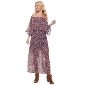 Juniors' Mason & Belle Print Off Shoulder Maxi Dress