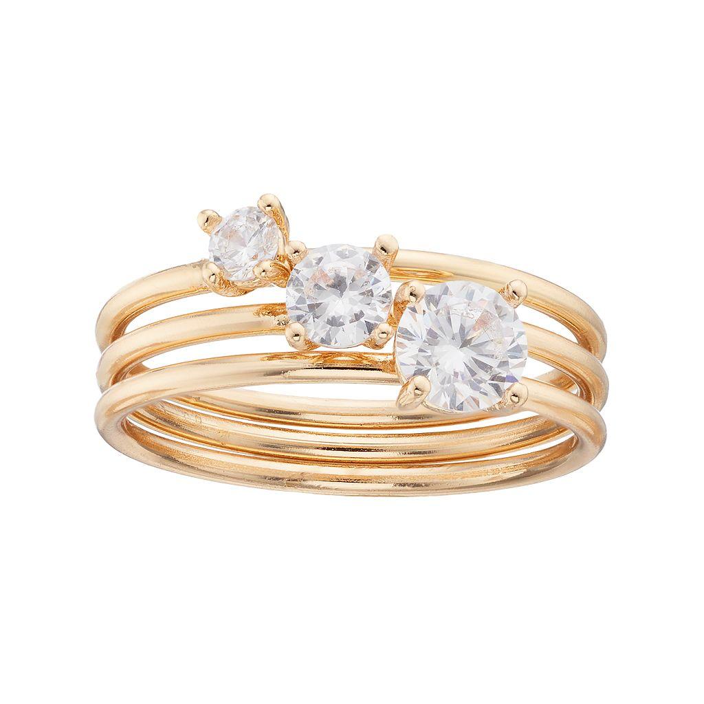 LC Lauren Conrad Cubic Zirconia Solitaire Ring Set