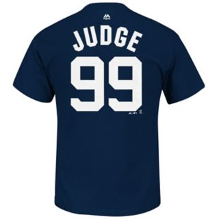 Men's Majestic New York Yankees Aaron Judge Player Name and Number Tee