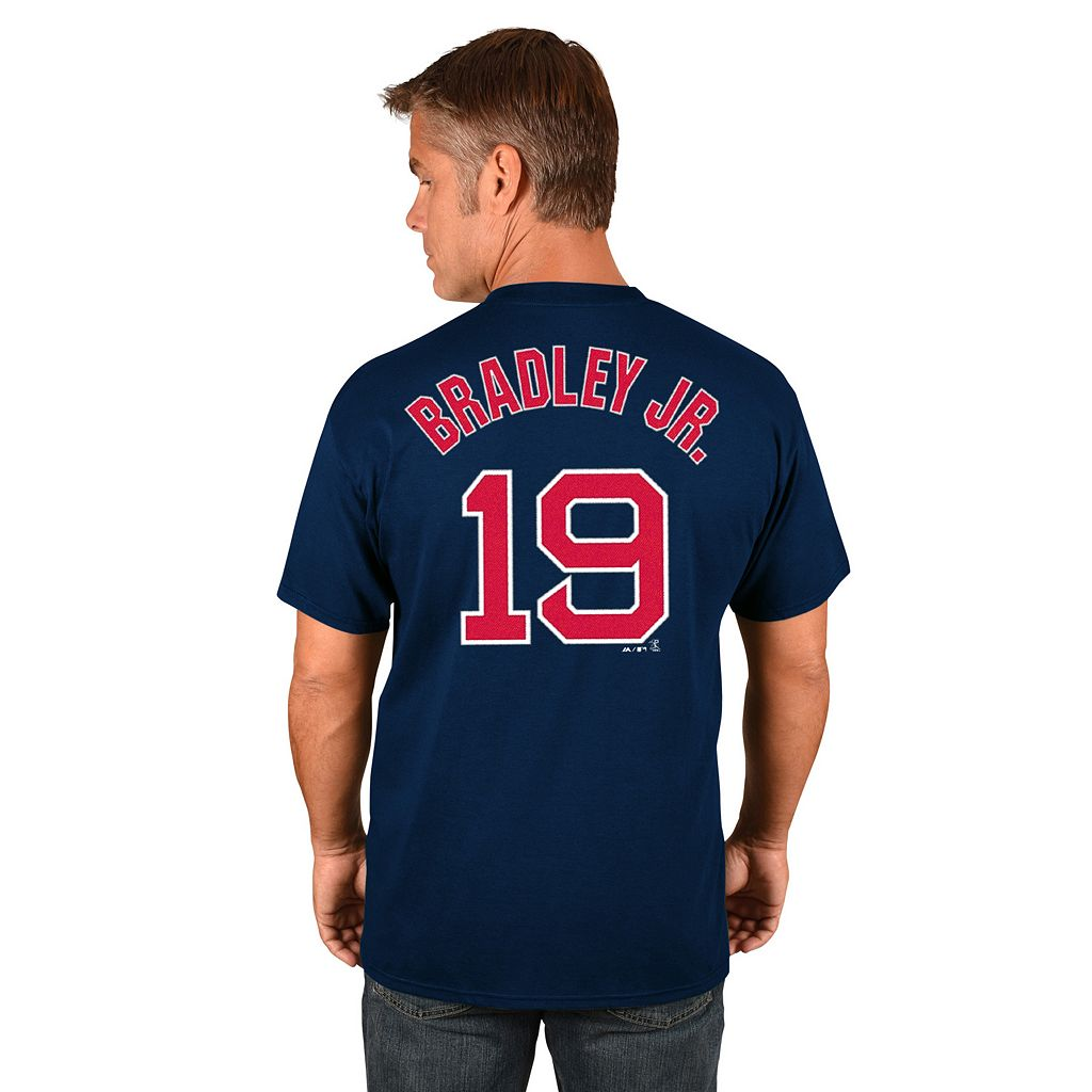Men's Majestic Boston Red Sox Jackie Bradley Jr. Player Name and Number Tee