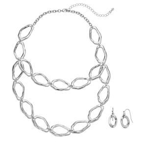 Hammered Link Swag Necklace & Drop Earring Set