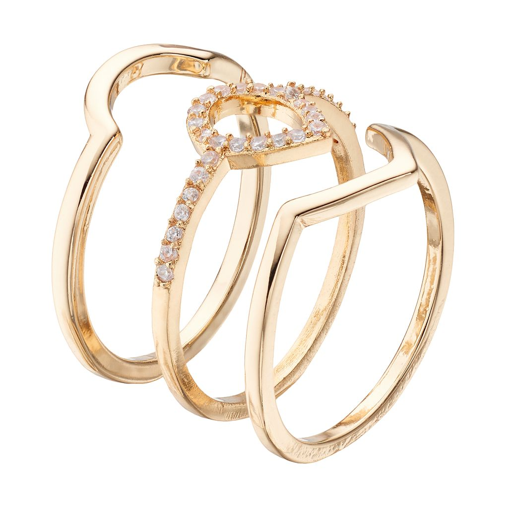 LC Lauren Conrad Cubic Zirconia Teardrop Stackable Ring Set