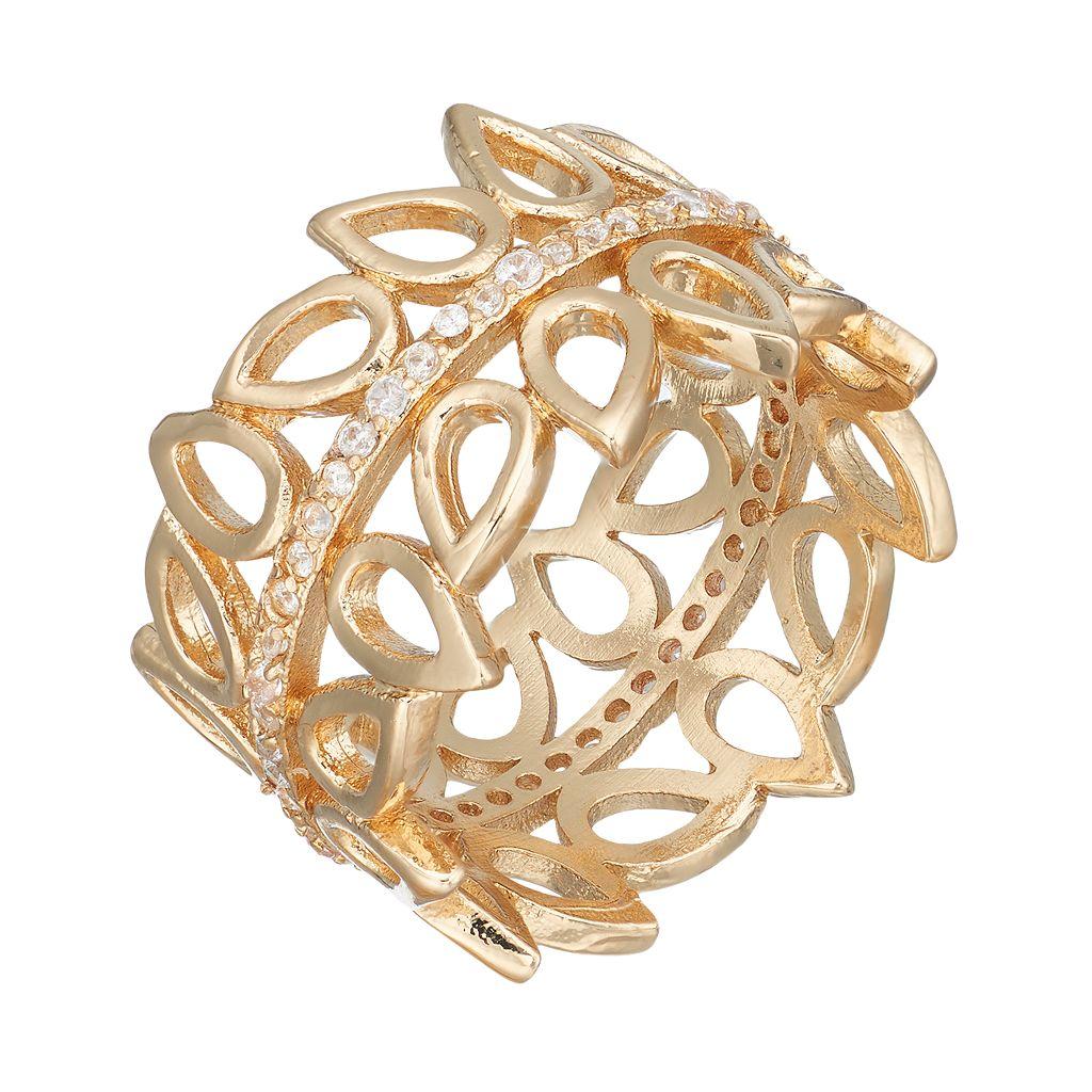 LC Lauren Conrad Cubic Zirconia Openwork Teardrop Ring