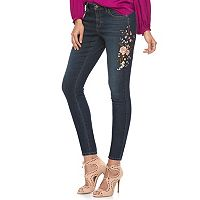 Petite Jennifer Lopez Embroidered Skinny Ankle Jeans