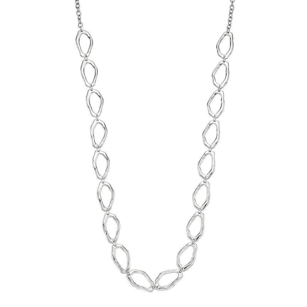 Long Hammered Link Necklace