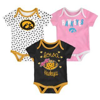 Baby Iowa Hawkeyes Heart Fan 3-Pack Bodysuit Set