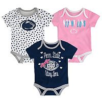 Baby Penn State Nittany Lions Heart Fan 3-Pack Bodysuit Set