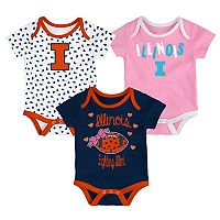 Baby Illinois Fighting Illini Heart Fan 3-Pack Bodysuit Set