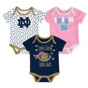 Baby Notre Dame Fighting Irish Heart Fan 3-Pack Bodysuit Set