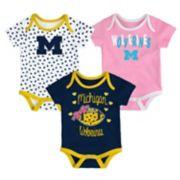 Baby Michigan Wolverines Heart Fan 3-Pack Bodysuit Set