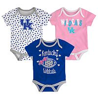 Baby Kentucky Wildcats Heart Fan 3-Pack Bodysuit Set