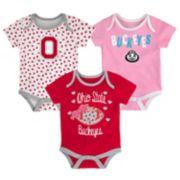 Baby Ohio State Buckeyes Heart Fan 3-Pack Bodysuit Set