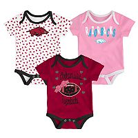 Baby Arkansas Razorbacks Heart Fan 3-Pack Bodysuit Set