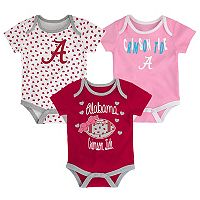 Baby Alabama Crimson Tide Heart Fan 3-Pack Bodysuit Set