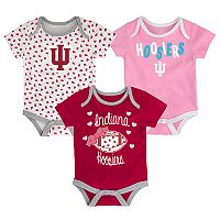 Baby Indiana Hoosiers Heart Fan 3-Pack Bodysuit Set