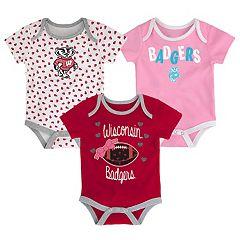 Baby Wisconsin Badgers Heart Fan 3-Pack Bodysuit Set