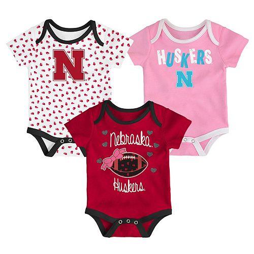 Baby Nebraska Cornhuskers Heart Fan 3-Pack Bodysuit Set